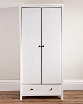 Hastings Wood 2 Door1 Drawer Wardrobe