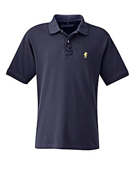 Jacamo Navy Embroidered Polo Long