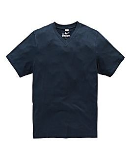 Jacamo Navy Titus V-Neck Tee Long