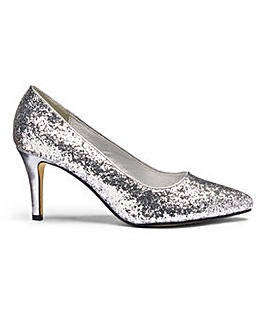 Heavenly Soles Glitter Court Shoes EEE
