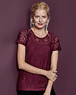 Lace Jersey Top With Cami