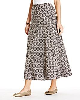 Linen Mix Print Skirt 33in