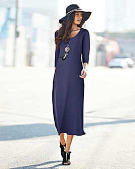 Plain Navy 3/4 Sleeve Jersey Dress