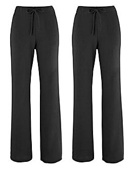 Pack 2 Straight Leg Trousers - Short
