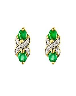 9ct Emerald & Dia Pendant