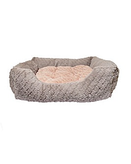 """40 Winks Grey and Pink Square Bed 18"""""""