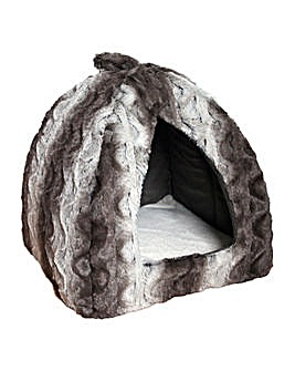 Grey/Cream Snuggle Plush Pyramid 15Inch
