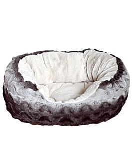 Grey & Cream Snuggle Plush Oval 25 Inch