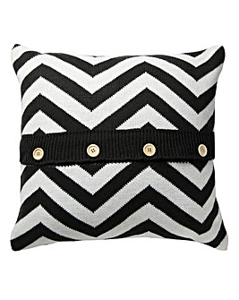 Knitted Chevron Cushion - Grey