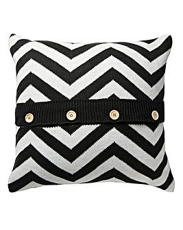 Knitted Chevron Cushion - Grey