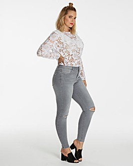 White Ruffle Front Lace Blouse