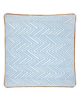 Lorraine Kelly Blue Herringbone Cushion