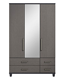 3 Door 4 Drawer Wardrobe with Mirror