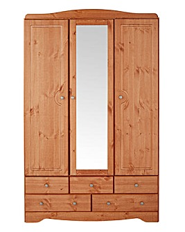 Otley 3 Door 5 Drawer Mirrored Wardrobe