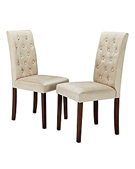 Grace Button Back Fabric Pair of Chairs