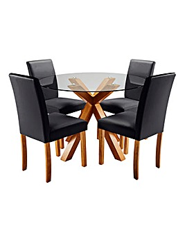 Albany Dining Table with 4 Mia Chairs