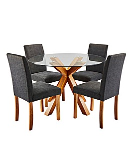 Albany Circular Table with 4 Mia Chairs