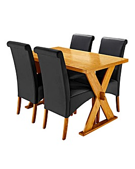 Norfolk Dining Table and 4 Siena Chairs