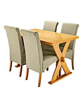 Norfolk Table and 4 Siena Fabric Chairs
