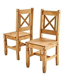 Corona Pine Cross Back Pair of Chairs