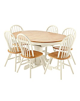Hove Extension Dining Table 6 Chairs