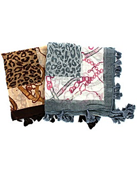 Set Of 3 Animal Print Tassled Scarves