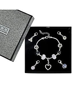 Mood charm drop polished heart bracelet