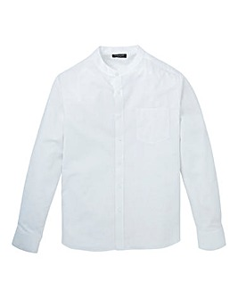 Capsule White L/S Grandad Oxford Shirt L