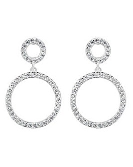 Simply Silver double circle drop earring