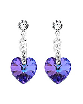 Jon Richard Purple crystal heart earring