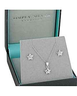 Simply Silver pave star jewellery set