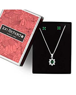 Jon Richard Green floral jewellery set