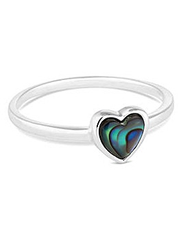 Simply Silver small abalone heart ring