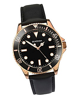 Sekonda Rose Tone Black Strap Watch