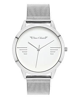 Time Chain Silver Tone Mesh Watch