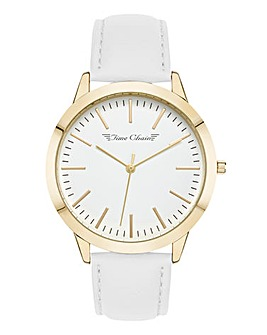 Time Chain White Leather Strap Watch