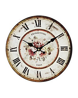Floral Wooden Wall Clock