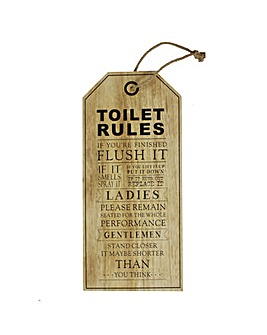 Wooden Toilet Rules Hanging Plaque