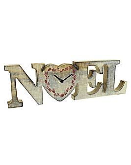 Noel Wooden Mantel Clock