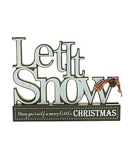 Let It Snow Wooden Mantel Plaque