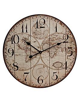 World Map Wooden Wall Clock