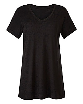Black V Neck Viscose Tshirt