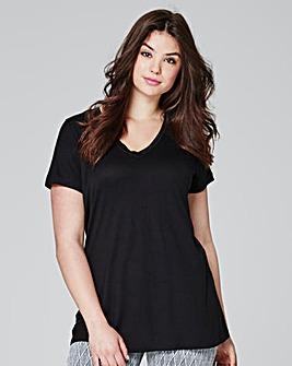 Black V Neck Viscose Tshirt
