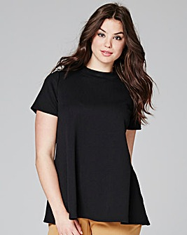 Black High Neck Swing Top