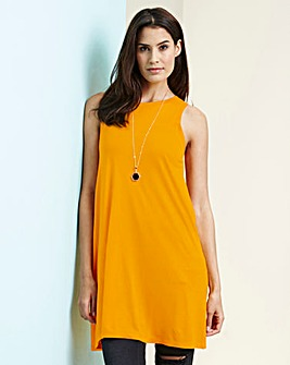 Orange Sleeveless Split Back Top