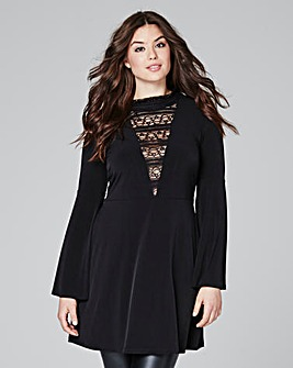 Black Tunic With Bell Sleeve