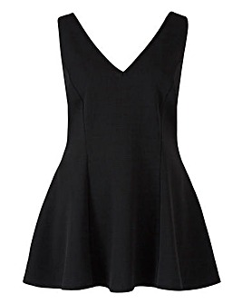 Black Textured Sleeveless Peplum Top