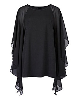 Black Batwing Top with Chiffon Sleeve