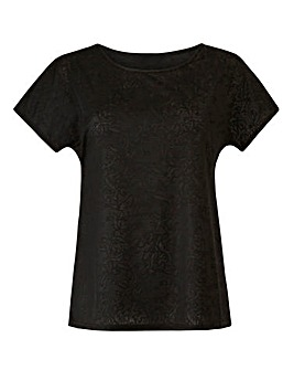 Black Jersey Jacquard Top