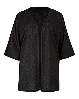 Black Jersey Jacquard Kimono